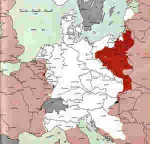 Der Frontverlauf des 2. Weltkriegs in Europa am 1. Februar 1945